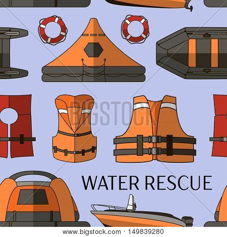 Water rescue set pattern isolated on color background.