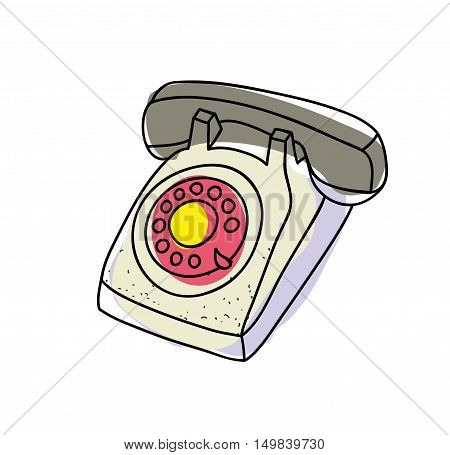 Old telephone. Vector illustration in doodle style.