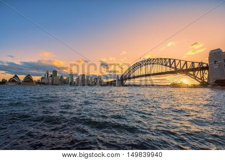 Sunset on the Sydney Harbour Sydney Australia at sunset.Oct 02,2016 Sydney Harbour is beautiful meandering waterway,famous around the word.