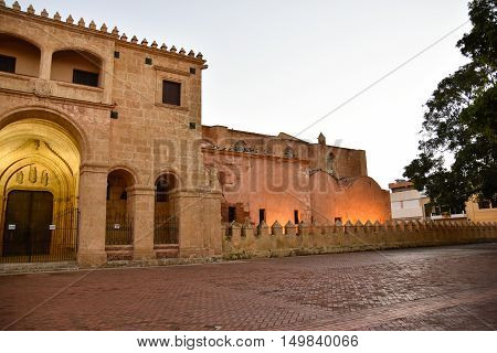 Santo Domingo, Dominican Republic. View of famous Cathedral in Columbus Park at the evening.