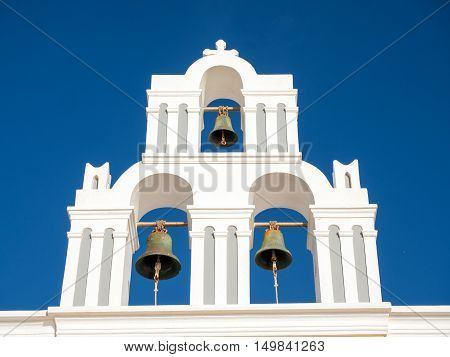 bell tower in Santorini island in cyclades of Greece