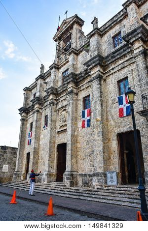SANTO DOMINGO, DOMINICAN REPUBLIC - JANUARY 30: Flag Raising at the National Pantheon in Las Damas street. January 30, 2016 in Santo Domingo, Dominican Republic.