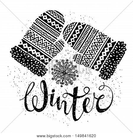 Winter text and knitted woolen mittens with snowflakes. Seasonal shopping concept for design cards or labels. Isolated vector illustration.
