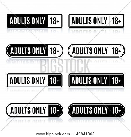 Set of eight rectangular stamps adults only icons age limit isolated on white background with mirror reflection vector illustration.