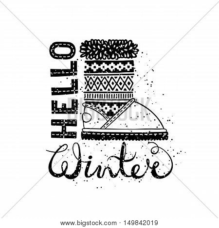 Hello winter lettering text Brush and boots. Seasonal shopping concept design for the banner or label. Isolated vector illustration.
