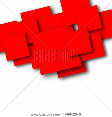 Bright abstract background of overlapping red squares with shadow vector illustration.