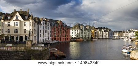Panorama of the Art Nouveau quarter of Alesund Norway