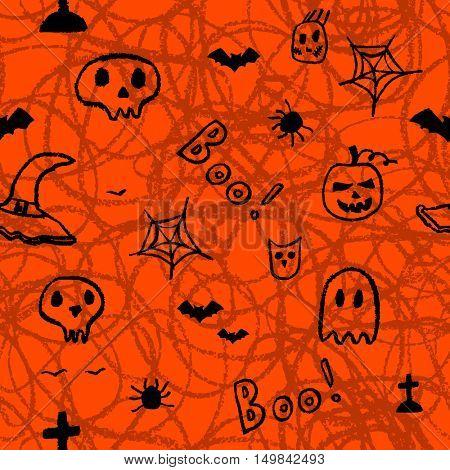 Halloween seamless pattern, Hand drawn decorative template. Doodle design element.