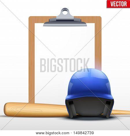 Coaching blank clipboard and baseball helmet ans bat. Editable Vector illustration Isolated on white background.