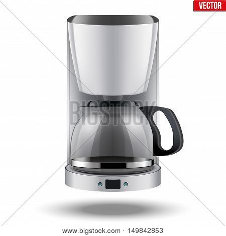 Classic Drip Coffee maker with glass pot. White color and Original design. Editable Vector illustration Isolated on white background.