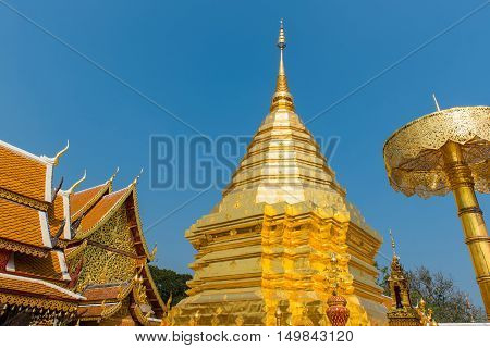 Wat Phrathat Doi Suthep temple in Chiang Mai Thailand.