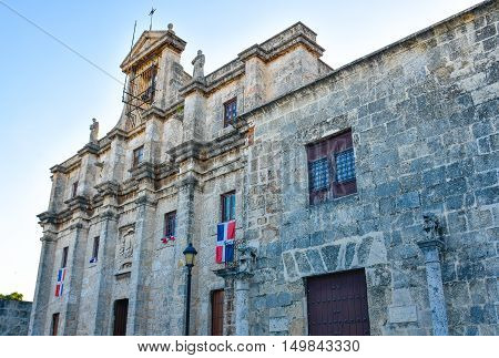 SANTO DOMINGO, DOMINICAN REPUBLIC - JANUARY 29: National Pantheon in Las Damas street. Taken in January 29, 2016 in Santo Domingo, Dominican Republic.