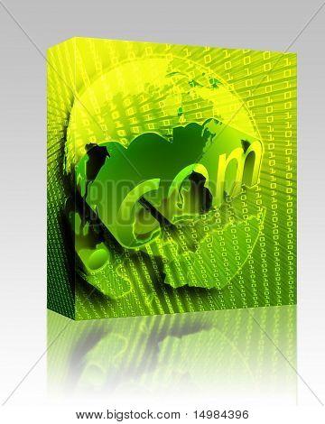 Software package box dotCom background, on US map internet illustration