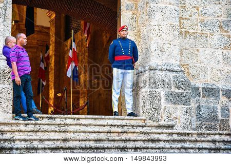 SANTO DOMINGO, DOMINICAN REPUBLIC - JANUARY 29: Soldier Guarding at the National Pantheon in Las Damas street. January 29, 2016 in Santo Domingo, Dominican Republic.