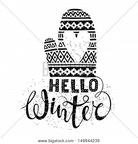 Hello winter text and knitted woolen mitten with heart. Seasonal shopping concept design for the banner or label. Isolated vector illustration.