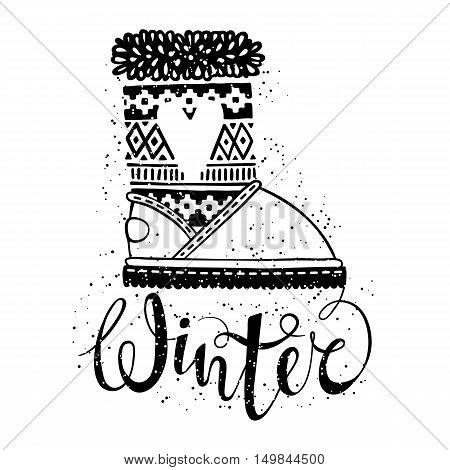 Winter text brush lettering and boots with heart. Seasonal shopping concept design for the banner or label. Isolated vector illustration.