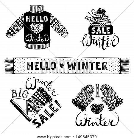 Set drawings knitted woolen clothing and footwear. Sweater, hat, mitten, boot, scarf, lettering. Winter sale shopping concept to design banners, price or label. Isolated vector illustration.