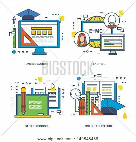 A set of illustrations on the theme of education, online education and the modern technologies and teaching methods. Vector illustration can be used in banners, brochures, commercial projects.