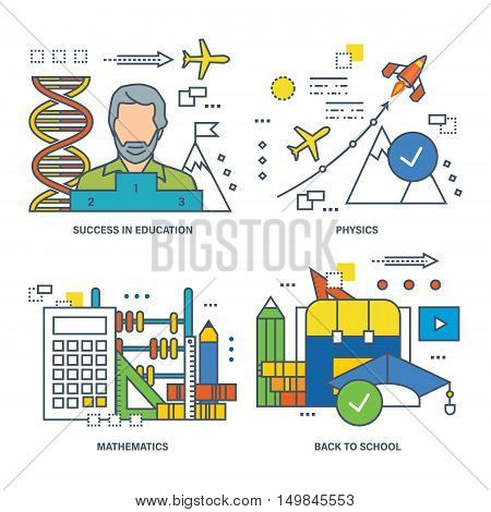 The basic concept of set - education and success in learning school subjects, educational disciplines, physics, mathematics. Vector illustration can be used in banners, brochures, commercial projects.
