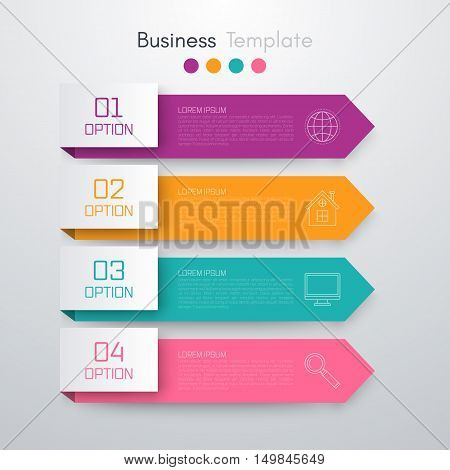 Stock vector business infographics. Minimal colorful numbered banners for diagram, web design. 4 options, stages