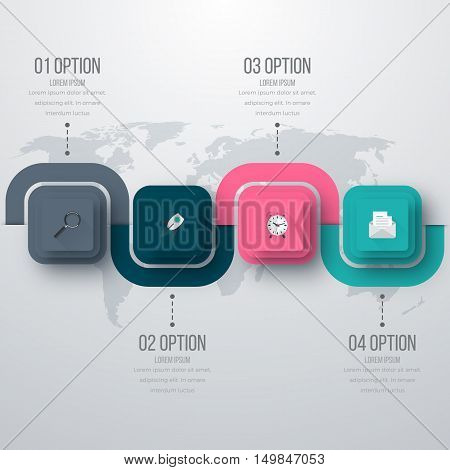 Vector illustration of four square infographics. Stock vector
