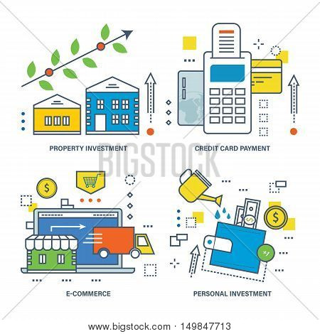 The kit contains illustrations on economic issues - investments and types of investments, property investment, credit card payment, e-commerce, personal investment.