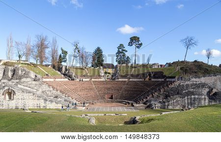 Kaiseraugst, Switzerland - February 23, 2014: The archeological site of a roman theatre Augsuta Raurica