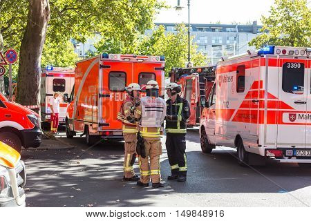 Berlin, Germany - Sept 19: Big coordinated intervention of paramedics, police, and firefighters when chemistry accident happened in school in Kreuzberg on 19th of September , 2016 in Berlin, Germany.