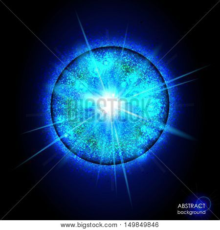 Explosion of supernova. Bright cosmic blue background. Glowing space. Bundle of energy. Cloud of dust and light on black background. Round abstract composition. Vector illustration EPS 10