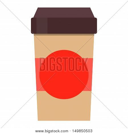 Take-out coffee in thermo cup isolated on white. Disposable coffee cup icon with coffee beans logo and coffee cup fast food vending. Espresso cappuccino latte container