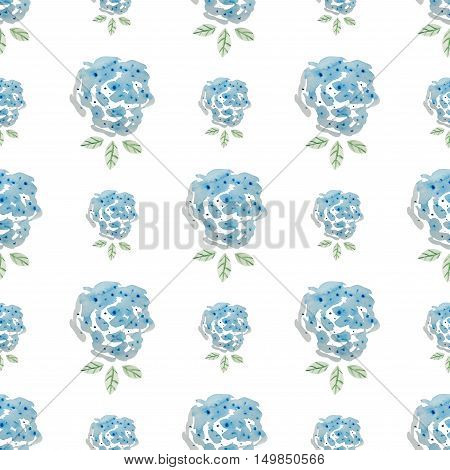 Seamless pattern of watercolor painted blue roses. Pastel palette print of impressionistic style florals. Decorative background for gift wrap & festive invitations.