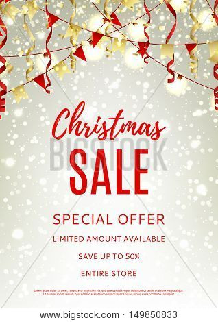 Christmas sale flyer template. Red and gold vector illustration with shining sparks for xmas design. Season discount banner with garlands and serpentine.