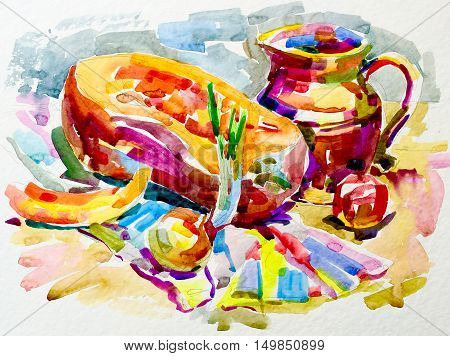 sketch watercolor painting still life artwork with pumpkin, jug, apple and onion, aquarelle fine art illustration