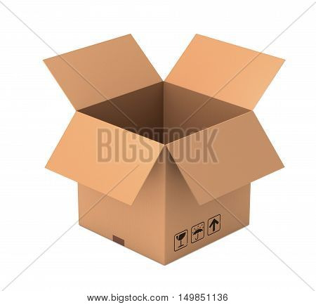 open 3d box illustration isolated on white background