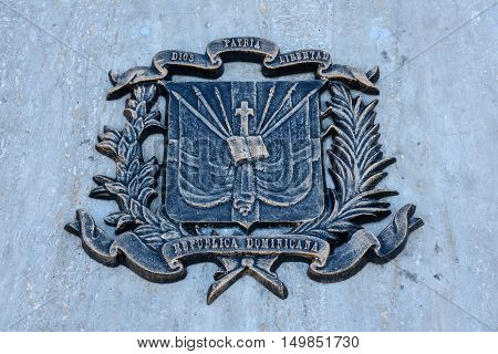 SANTO DOMINGO, DOMINICAN REPUBLIC - JANUARY 29, 2016: Bronze plaque in Spanish Square, Colonial City of Santo Domingo declared a World Heritage UNESCO.