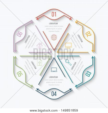 Thin line infographic element. Linear flat chart, diagram, scheme, graph with 6 steps