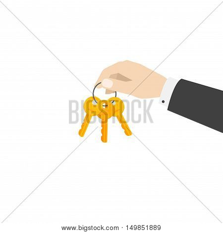 Hand holding keys chain vector illustration isolated on white background, flat cartoon person hand giving keys, concept of rental service, gift, access