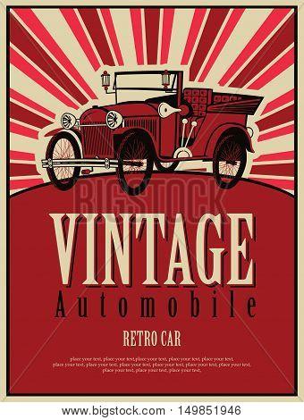 vector banner with a vintage car cabriolet