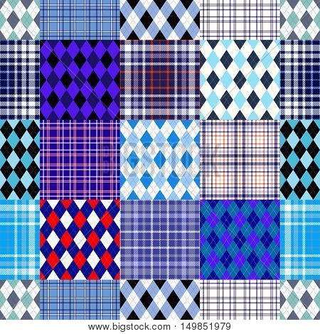 Seamless patchwork pattern of plaid & argyle patch blocks in nautical colors. Retro check textile collage in shades of dark & light blue, white & red. Quilt print for bedding sets, mats, mural decor.