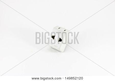 White adaptor plugs on white background isolated.
