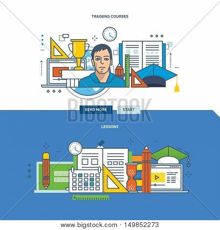 Concept of advanced training, lessons, training courses and exercises. Color Line icons collection. Vector design for website, banner, printed materials and mobile app.