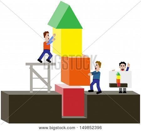 Males build a tower according to plan.