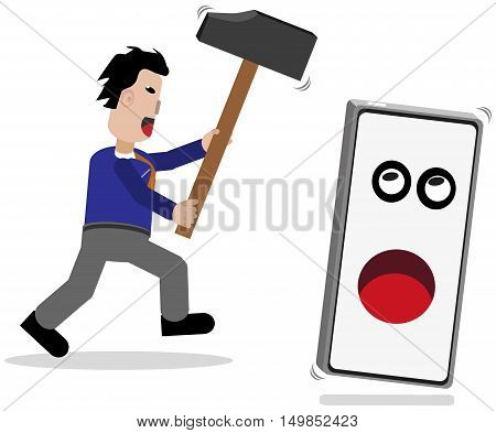 Cellphone flees from males with a large hammer.
