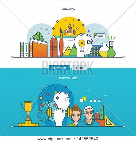 Concept of innovation, new ideas and brain training. Color Line icons collection. Vector design for website, banner, printed materials and mobile app.