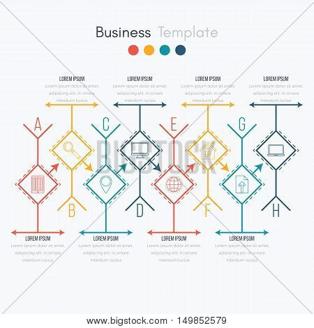 Thin line infographic element. Linear flat chart, diagram, scheme, graph with 8 steps