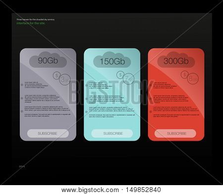 Three tariffs banners. Web pricing table. Vector design for web app.