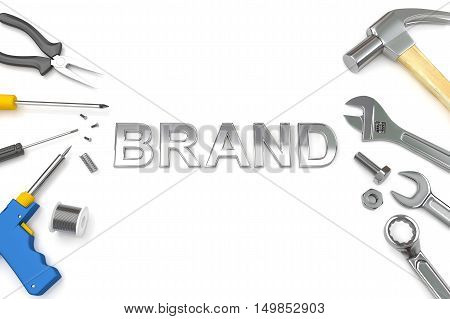 Brand concept, Brand word with tools background. 3D Illustration