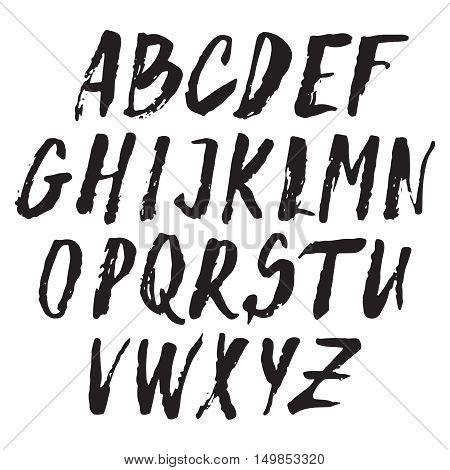 Handwritten vector alphabet. Grunge texture. Modern hand drawn alphabet. Isolated capital letters.