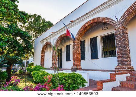 SANTO DOMINGO, DOMINICAN REPUBLIC - JANUARY 29, 2016: Virreinal Alcazar Museum of Ministry of Culture. Spanish Square, Colonia Zone.