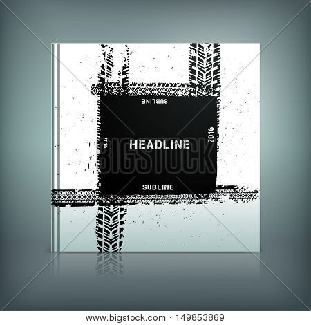 Vector tyre brochure cover template. Modern background for poster, print, flyer, book, booklet, brochure and leaflet design. Editable graphic collection in white and black colours